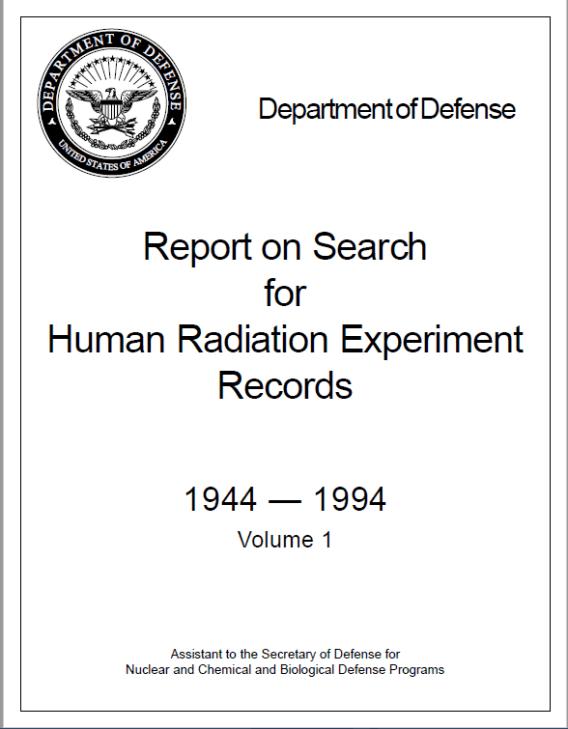 Portada del informe sobre la búsqueda de registros de experimentos con radiación en humanos. Autor: captura de pantalla realizada el 05/10/2020 a las 05:53. Fuente: Archivo del Departamento de Defensa de EEUU.