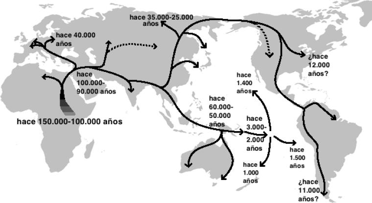 Mapa de las primeras migraciones humanas en el paleolítico. Autor: Ephert, 01/10/2011. Fuente: museum.kyushu-u.ac.jp/WAJIN/113.html (CC BY-SA 3.0.)