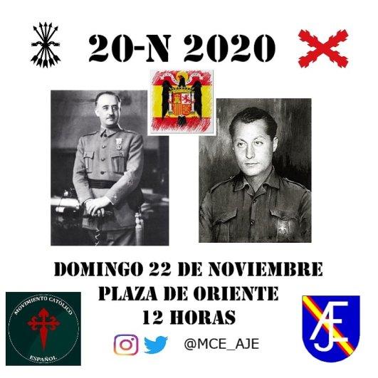 Cartel de la convocatoria a las misas y a la concentración en la Plaza de Oriente por el Movimiento Católico Español. Autor: MCE. Fuente: Cuenta de Twitter @MCE_AJE