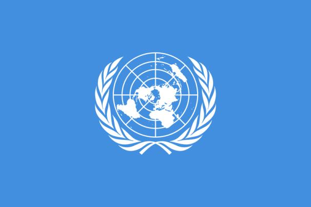Bandera de la Organización de las Naciones Unidas. Autor: Naciones Unidas, con modificaciones Denelson83,Zscout370veMadden. Fuente: Wikimmedia.