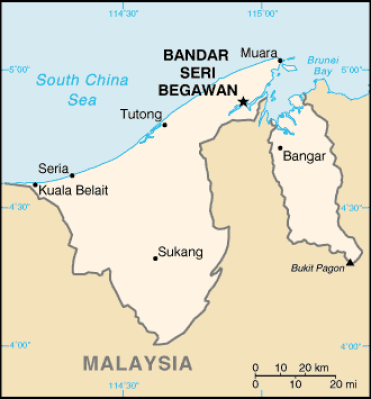 Mapa de Brunei. Fuente: Wikimedia Commons
