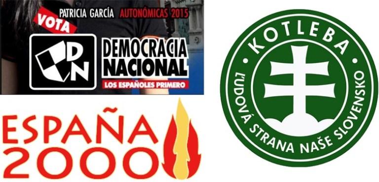 Logos de partido político de extrema derecha junto a sus nombres: Democracia Nacional, España 2000 y Partido Nacional Esloveno.