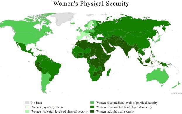 Mapa mundial de riesgo de violencia contra las mujeres (2011). Autor: WomanStats Project, 05/12/2011. Fuente: womanstats.org (CC BY-SA 3.0.)