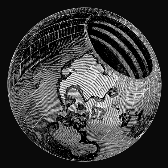 Ilustración de la teoría de las esferas concéntricas de Symmes. Autor: Symmes, Americus & Symmes, John Cleves, 1878. Fuente: Babel