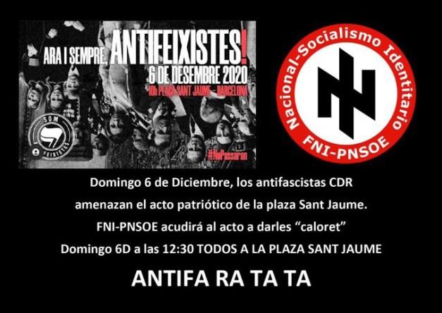 Anuncio FNI-PNSOE para manifestarse con Vox. Autor: captura de pantalla hecha el 15/12/2020, 08:44. Fuente: Telegram (@FNI_PNSOE)