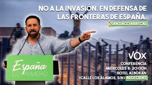 Cartel elaborado por Vox de acto en favor a la defensa de las fronteras de España, 2018. Autor: Vox. Fuente: Twitter.