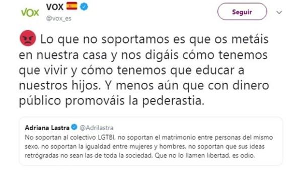 Tweet ya borrado de Vox relacionando al colectivo LGTBI con la pederastia y que le costó la suspensión de la cuenta. Autor: Desconocido. Fuente: Twitter.