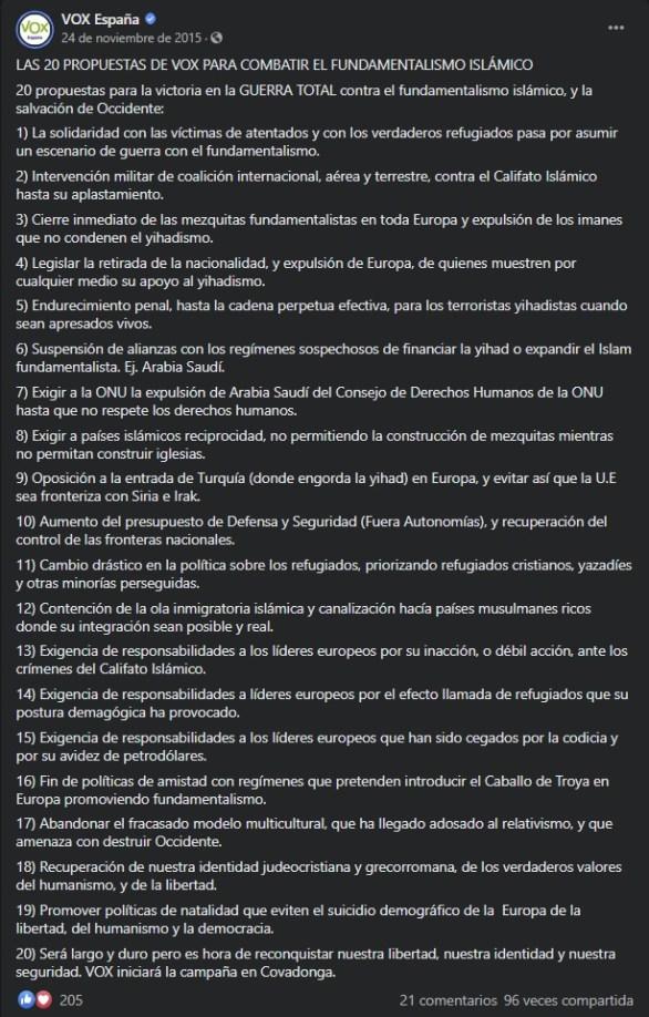 Captura de pantalla realizada el 09/12/2020 al post de VOX en Facebook: https://www.facebook.com/vox.espana/posts/745496015555822/