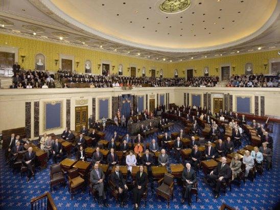 """Hemiciclo del Senado de EEUU, donde se votará el siguiente paso del """"impeachment"""" a Trump"""