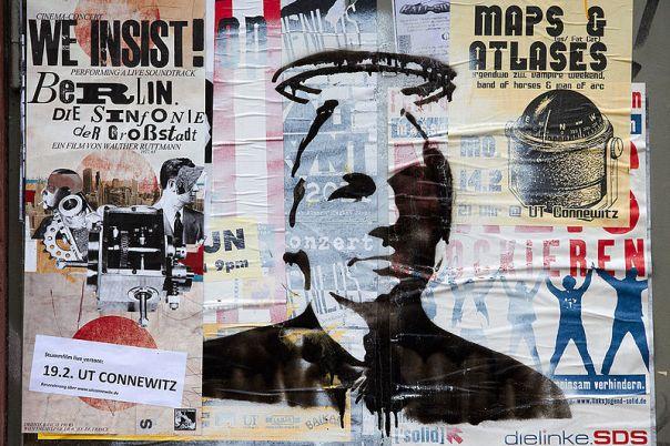 Julian Assange, fundador de WikiLeaks, dibujado con stencil en Leipzig Connewitz. Autor: Herder3, 12/02/2011. Fuente: Wikimedia Commons (CC BY-SA 3.0.)