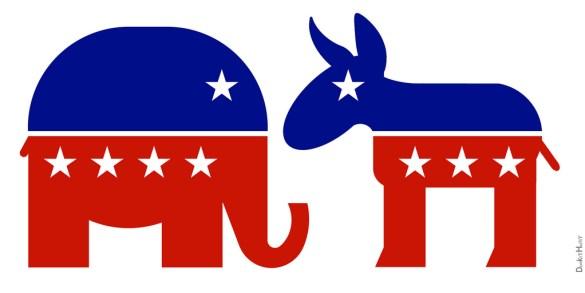 Logo del elefante del partido republicano y el burro del partido demócrata. Autor: Pixy. Fuente: Pixy (CC BY-NC-ND 4.0).