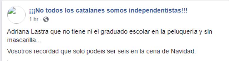 Bulo sobre Adriana Lastra en la peluquería durante la pandemia. Autor: captura de pantalla hecha el 05/01/2021 a las 16:21. Fuente: Facebook (¡No todos los catalanes somos independentistas!).
