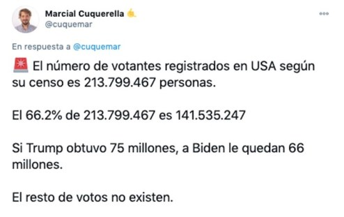 Bulo sobre las elecciones de EEUU. Autor: captura de pantalla hecha el 05/01/2021 a las 16:28. Fuente: Twitter (@Cuquemar).