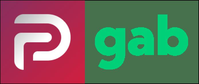 Logotipos de Parler y de Gab, las redes sociales desde las cuales se organizó el asalto al Capitolio