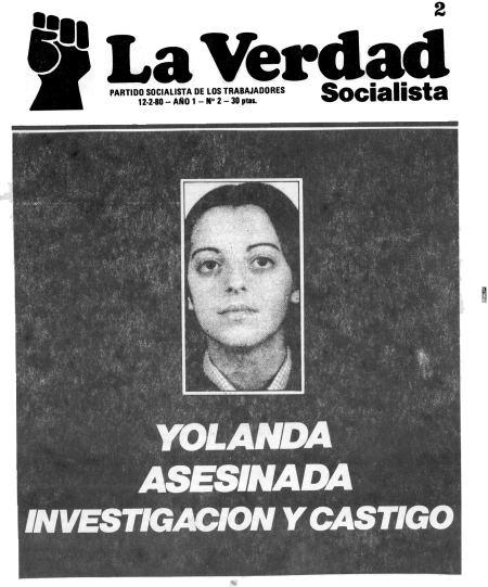 Portada La Verdad Socialista de 1980 hablando del asesinato de Yolanda. Autor: La Verdad Socialista, 12/02/1980. Fuente: XavierCasal (golpe de estado)