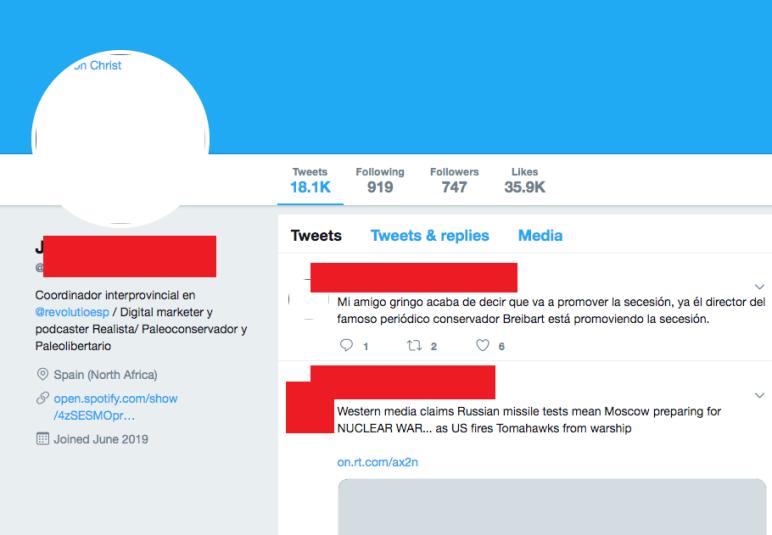Otra cuenta de Twitter de Antonio Navarro, Coordinador interprovincial de Revolutio España, ya eliminado. Autor: Captura de pantalla realizada el 14/03/2021. Fuente: Caché de Google de Twitter