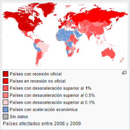 Países afectados por la Gran Recesión en 2008 y 2009. Autor: Felipe Menegaz, 4/03/2009. Fuente: Wikimedia Commons (CC BY-SA 3.0).