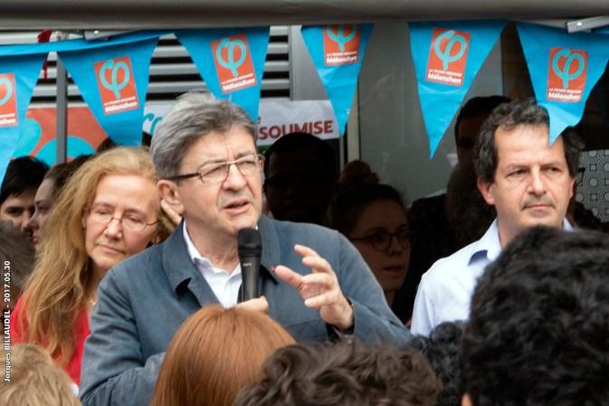 Jean-Luc Mélenchon habla en París en apoyo del candidato Laurent Levard para las elecciones legislativas de 2017. Autor: Jacques-BILLAUDEL, 30/05/2017. Fuente: Flickr (CC BY-NC-ND 2.0)