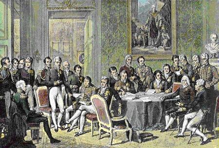 Fotografía del Congreso de Viena, reunión en la que las grandes potencias europeas acordarían el nuevo orden en el continente tras los sucesos de la Revolución francesa. Autor: Jean-Baptiste Isabey, 1815.