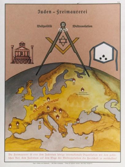 El mapa, decorado con símbolos masónicos (templo, plaza y delantal) muestra propaganda alemana de 1935 denunciando la acción de lajudeo-masoneríaen varias revoluciones europeas
