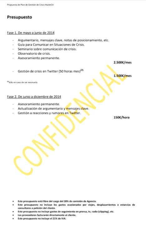 Propuesta de plan de gestión de crisis de Triada Comunicación y Relaciones Públicas, SL, para la gestión de la crisis de El Yunque. Autor: Triada Comunicación y Relaciones Públicas. Fuente: WikiLeaks.