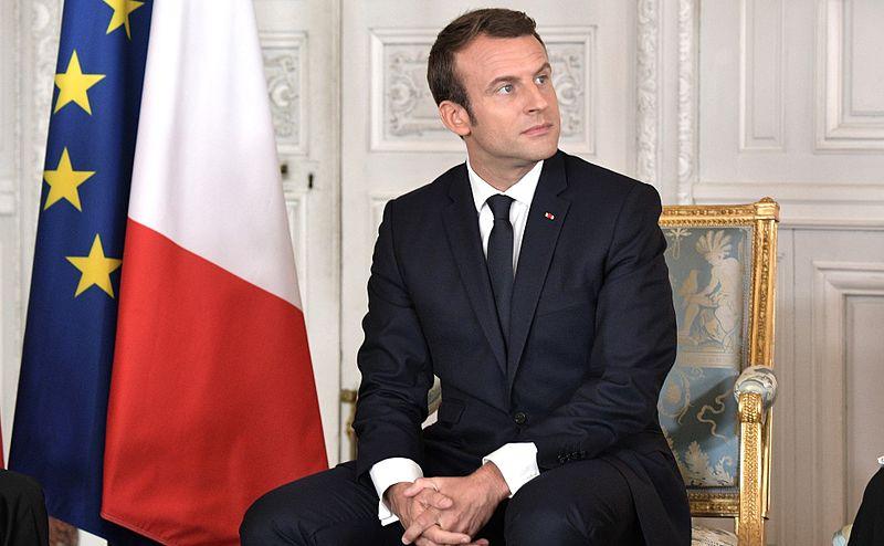 El presidente francés Emmanuel Macron, durante una reunión con el presidente ruso Vladimir Putin (Versalles). Autor: Servicio de prensa del presidente de la Federación de Rusia, 29/05/2017. Fuente: Kremlin (CC BY 4.0).