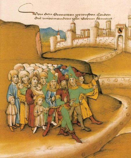 Gitanos fuera de la ciudad de Berna (Suiza). Autor: Diebold Schilling, 1445