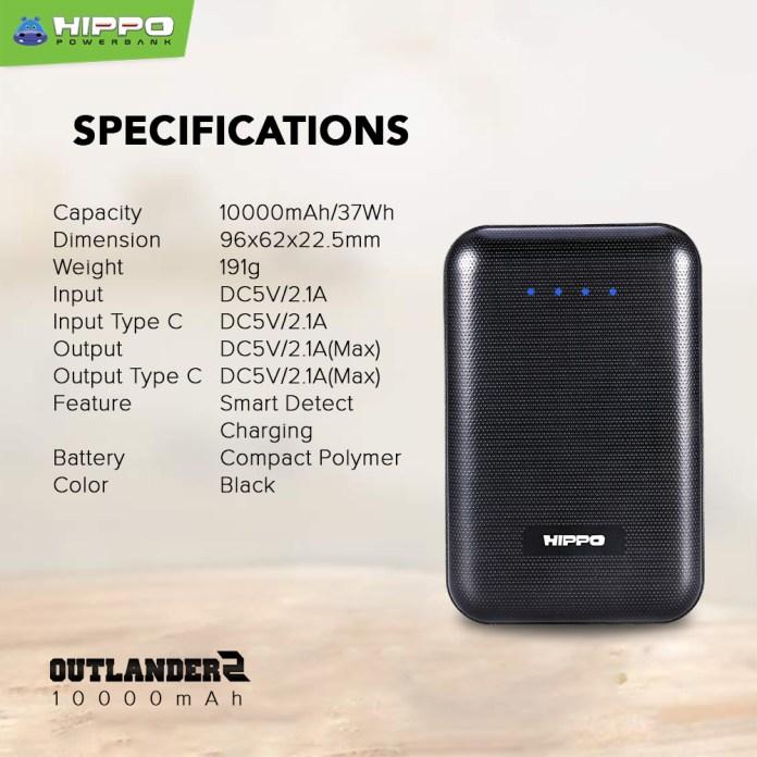 Hippo Outlander 2 Spesifikasi