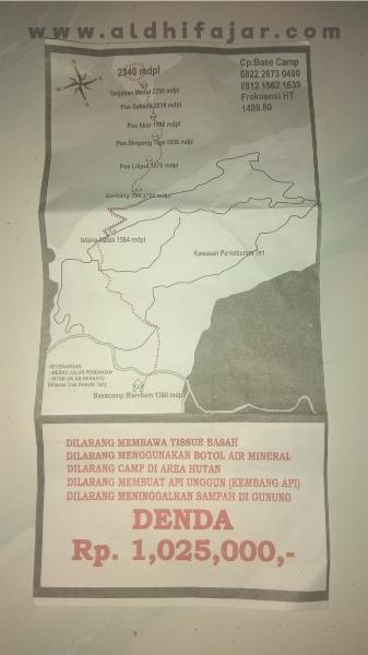 Peta jalur pendakian gunung kembang