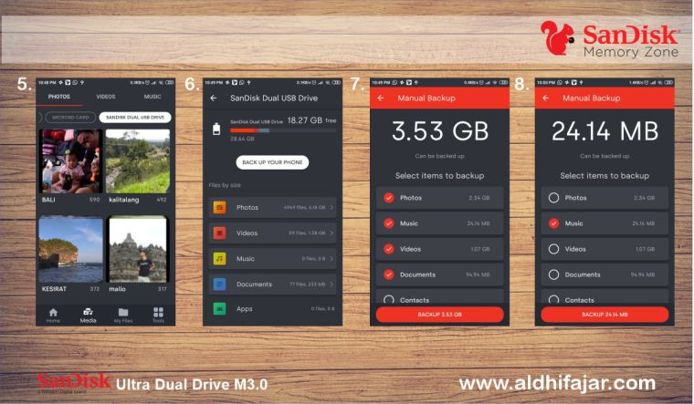 Proses Back-up data pada SanDisk Memory Zone