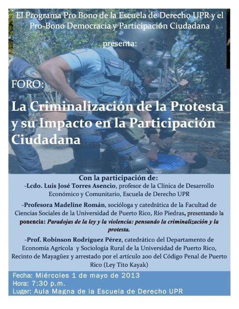 Foro: La criminalización de la protesta y su impacto en la participación ciudadana