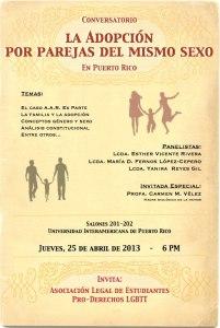 Conversatorio sobre la adopción por parejas del mismo sexo en Puerto Rico
