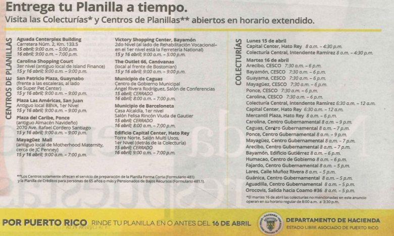 Colecturías y Centros de Planillas abiertos en horario extendido