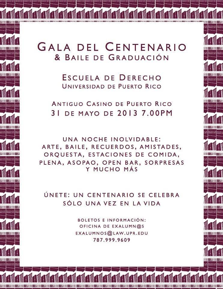 Escuela de Derecho UPR invita a Gala de Centenario y Baile de Graduación