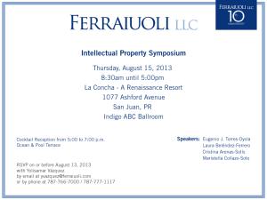 Bufete Ferraiuoli LLC invita a simposio sobre propiedad intelectual