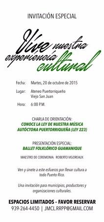 Charla sobre la Ley de Nuestra Música Autóctona Puertorriqueña (Ley Núm. 223-2004)