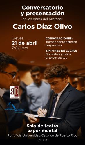 Carlos Díaz Olivo presenta Tratado sobre derecho corporativo en Ponce