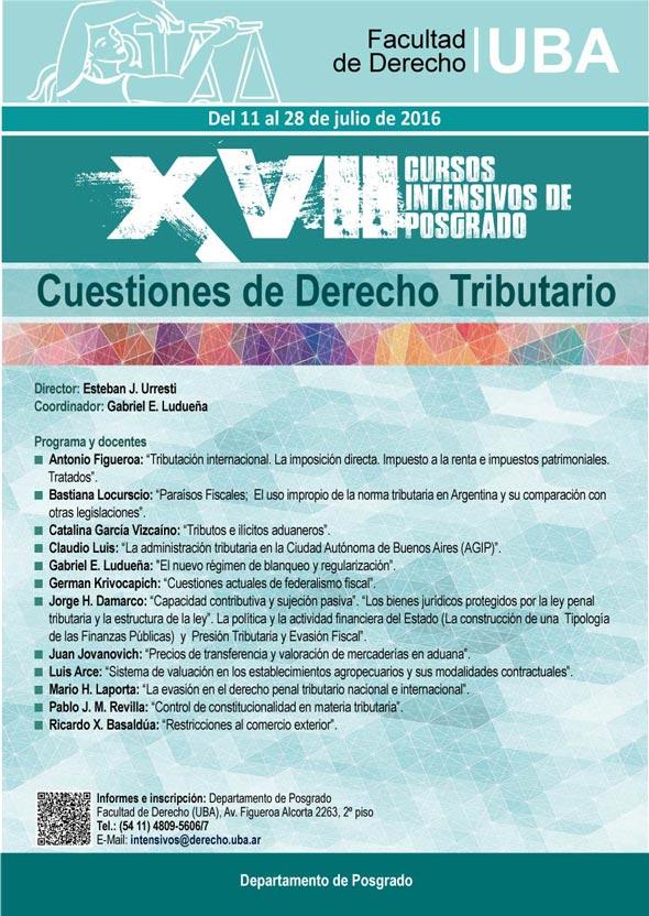 Curso Intensivo de D. Tributario 2016. Fac. Derecho UBA. 11 al 28 Julio