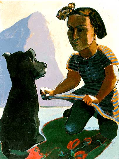 Paula Rego - girl lifting up her skirt