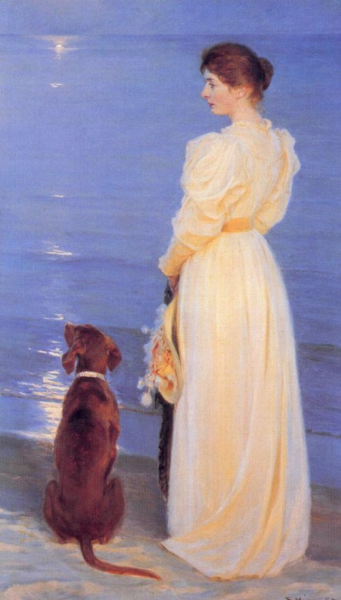Peder S. Kroyer – Summer eveninga at Skagen Marie Kroyer with a dog on the beach