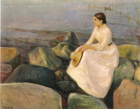 Edvard Munch - Inger-with-edge-of-sea-1889
