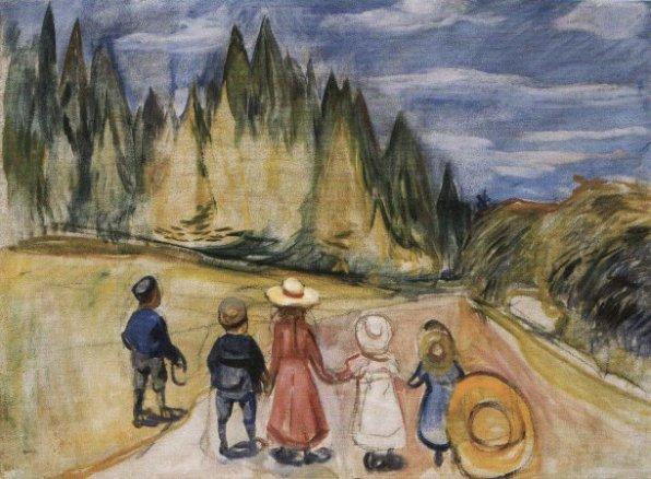 Edvard Munch - La-foret-enchantee-eventyrskogen-enchanted-forest-1903