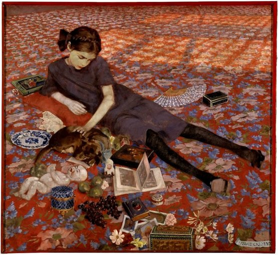 Felice Casorati - Girl on a red carpet,1912