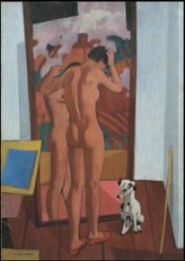 Felice Casorati - Nudo allo specchio con cagnolino,1955