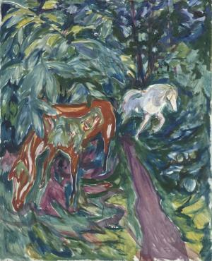 Edvard Munch - Two horses in the forest, 1926