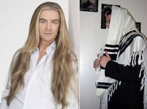 burri flokë të gjata lutje me krye të mbuluar