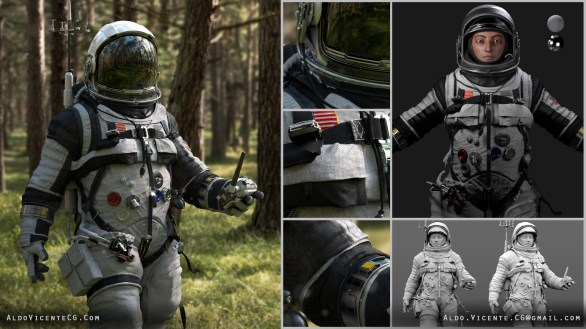 COSMONAUT: Modeled in Maya. Sculpted in Zbrush. Textured in Quixel Suite 2. Rendered in Arnold and Mental Ray. Compositing in Nuke. This piece was featured in a Lighting tutorial for issue #91 of 3DArtist Magazine.