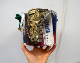 "United Paint Bucket, (Aldrich), oil, enamel, paper, and silicone, 8"" x 6"" x 6"", 2016."