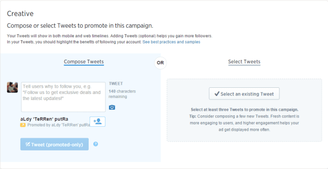 Memasang Iklan twitter Ads