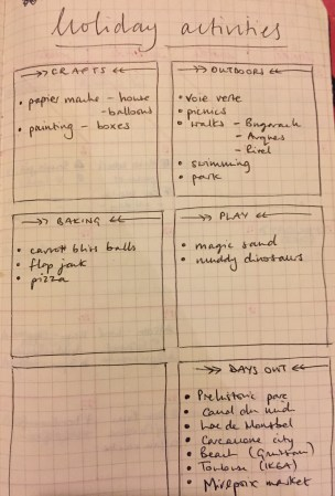 holiday planning page
